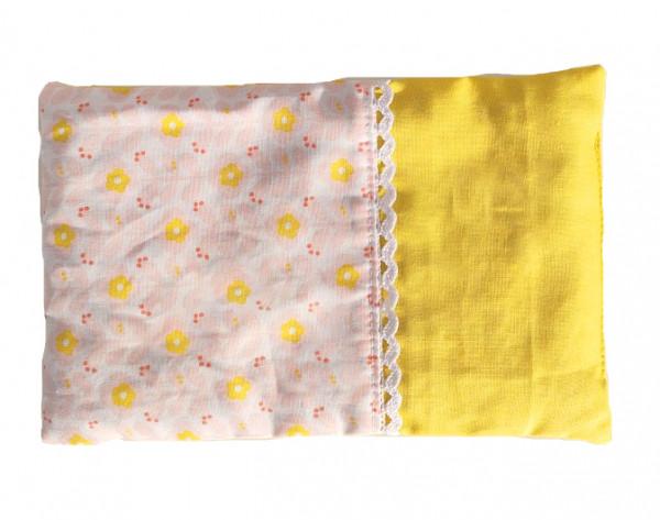 Wärmendes Duftkissen, gelbe Blüte mit Borte